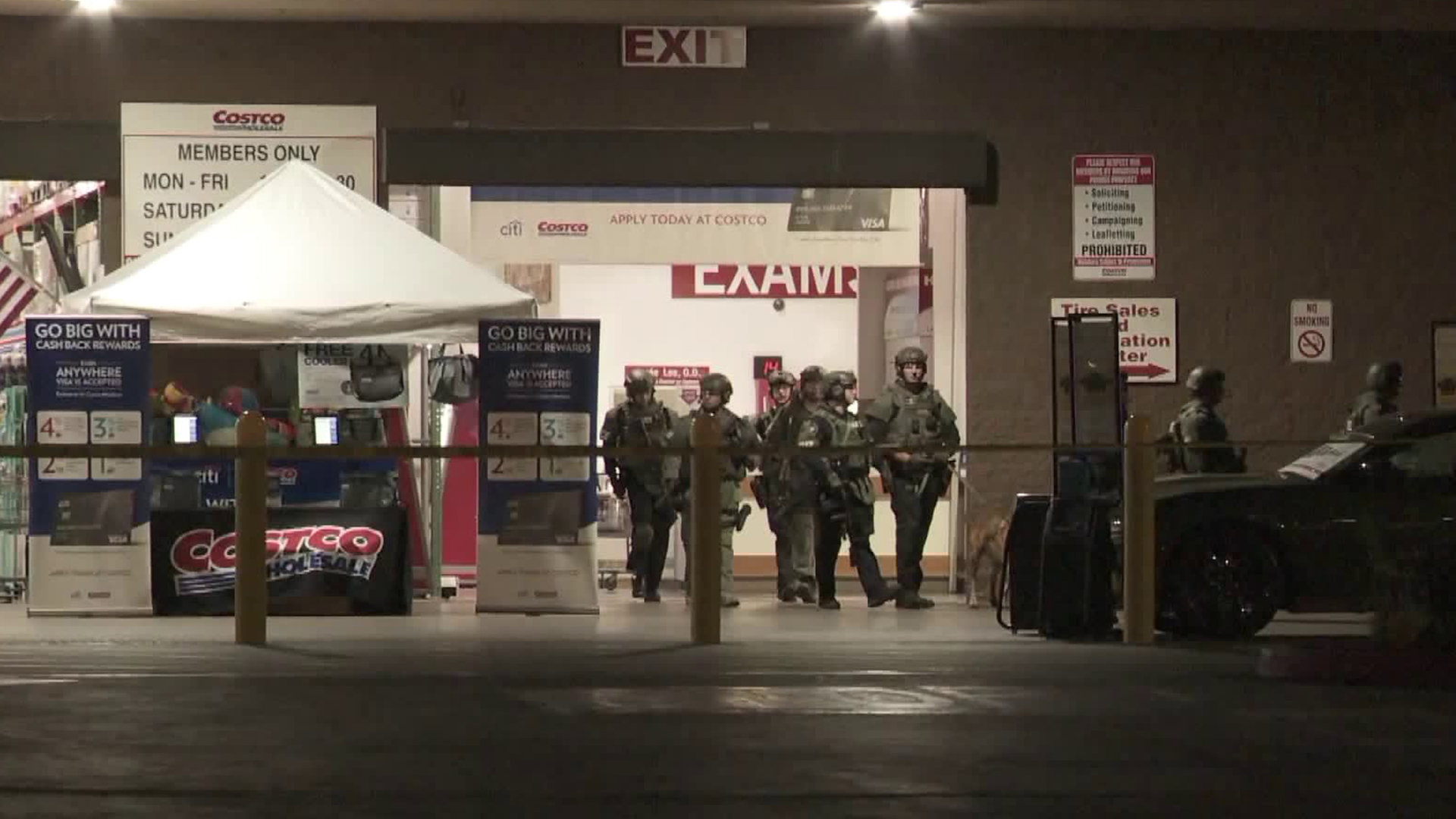 Authorities investigate the scene of a shooting that left one man dead and two people wounded at a Costco store in Corona on June 14, 2019. (Credit: KTLA)