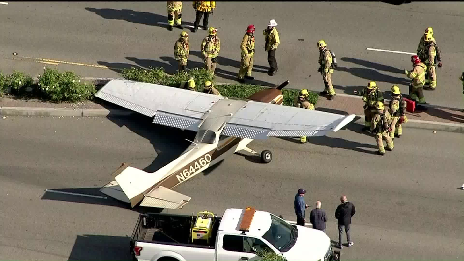 A small airplane made an emergency landing on Fullerton streets on June 20, 2019. (Credit: KTLA)