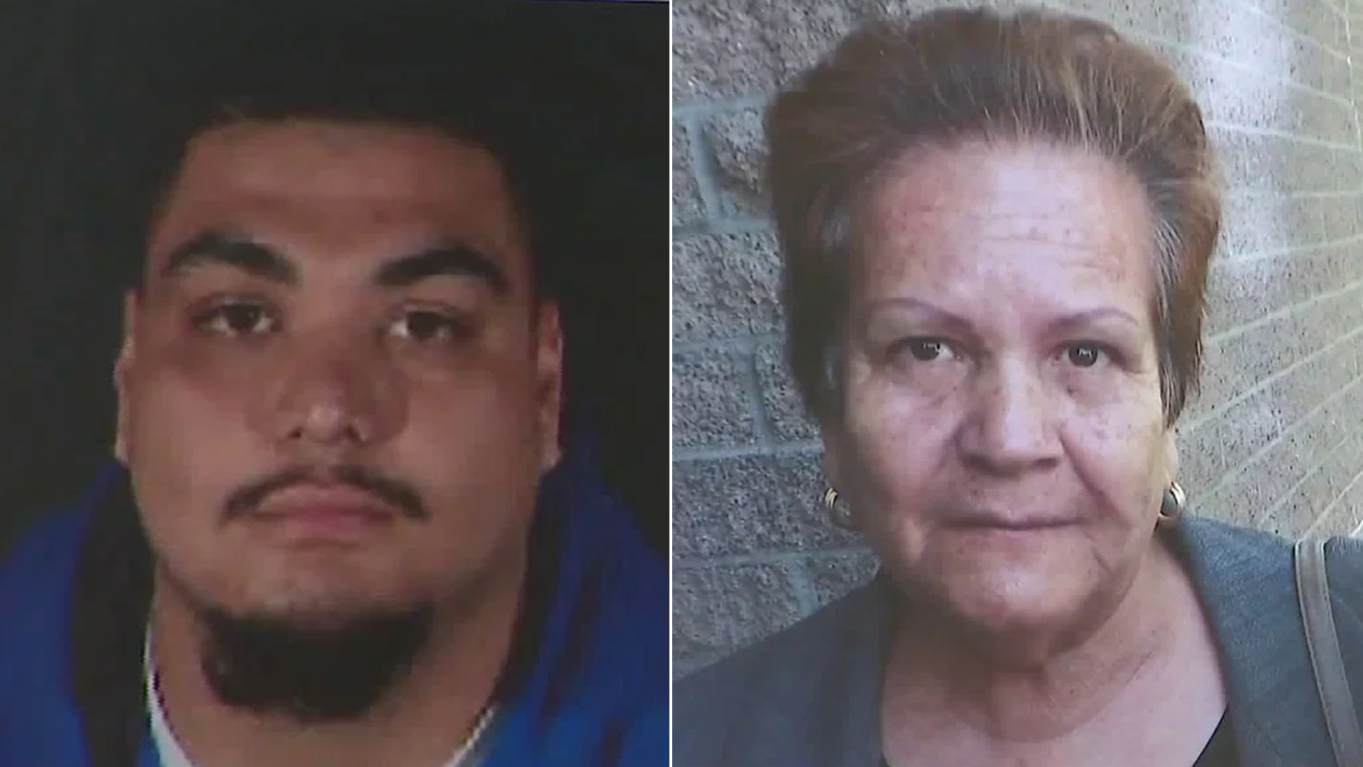 On the left, Brandon Mazariego is shown in a photo displayed at an LAPD news conference on Nov. 20, 2018. On the right, Maria Reynoso's photo is held up by her family at a news conference in South L.A. on Nov. 19. (Credit: KTLA)