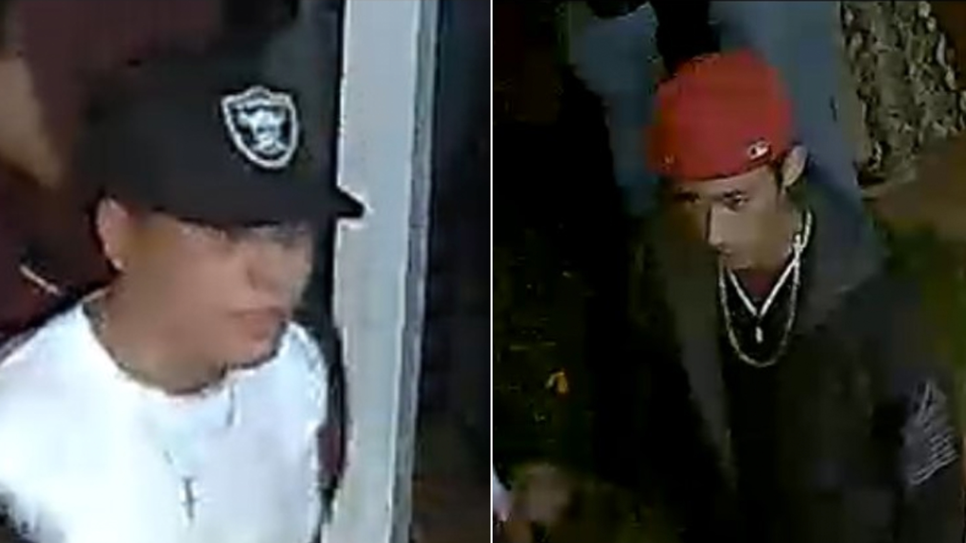 Two people wanted in connection to a fatal shooting at a West Covina home on May 31, 2019, are seen in undated surveillance photos provided by the Los Angeles County Sheriff's Department.