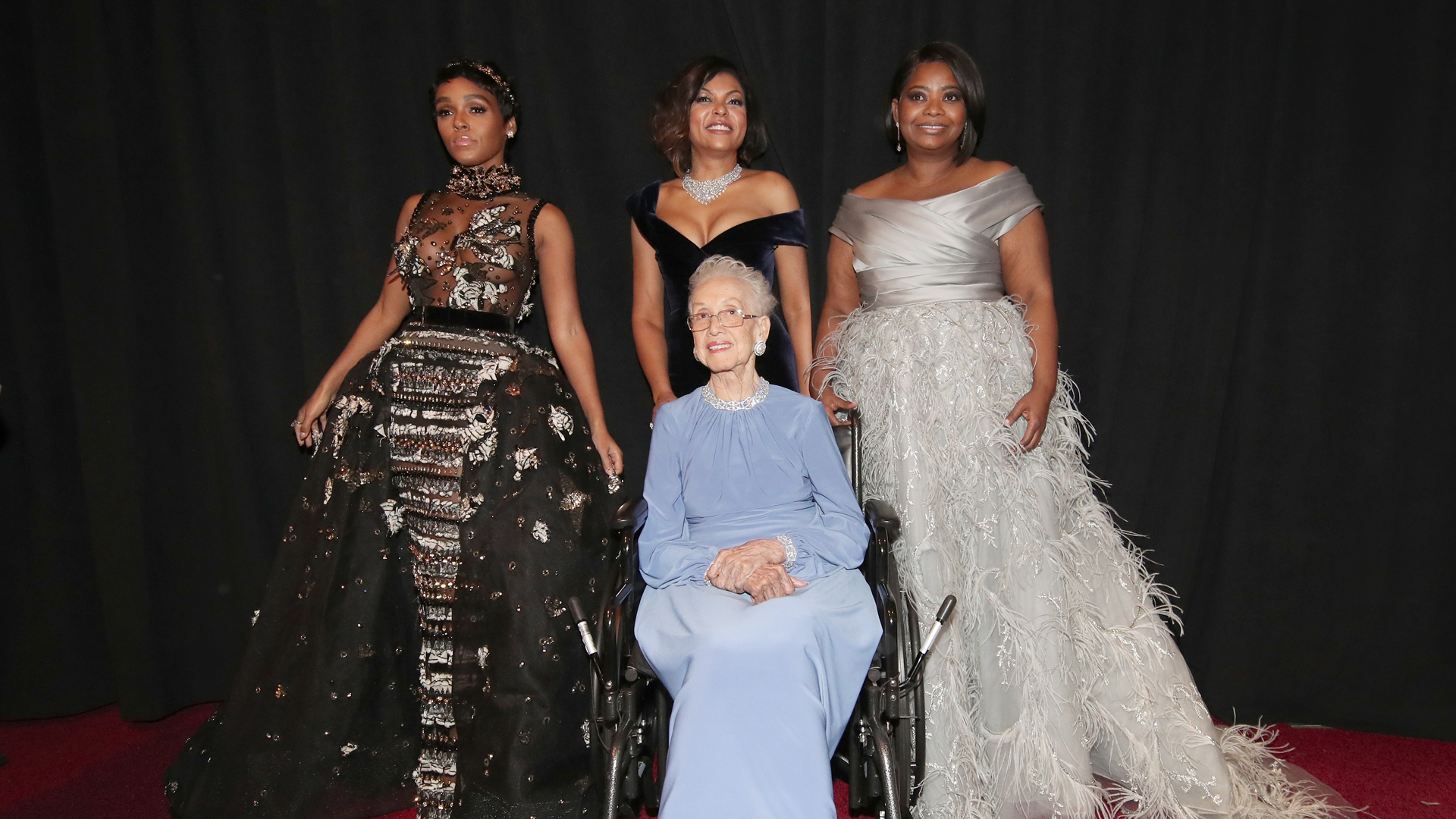 NASA mathematician Katherine Johnson and actors Janelle Monae, Taraji P. Henson and Octavia Spencer pose backstage during the 89th Annual Academy Awards at Hollywood & Highland Center on February 26, 2017 in Hollywood. (Photo by Christopher Polk/Getty Images)