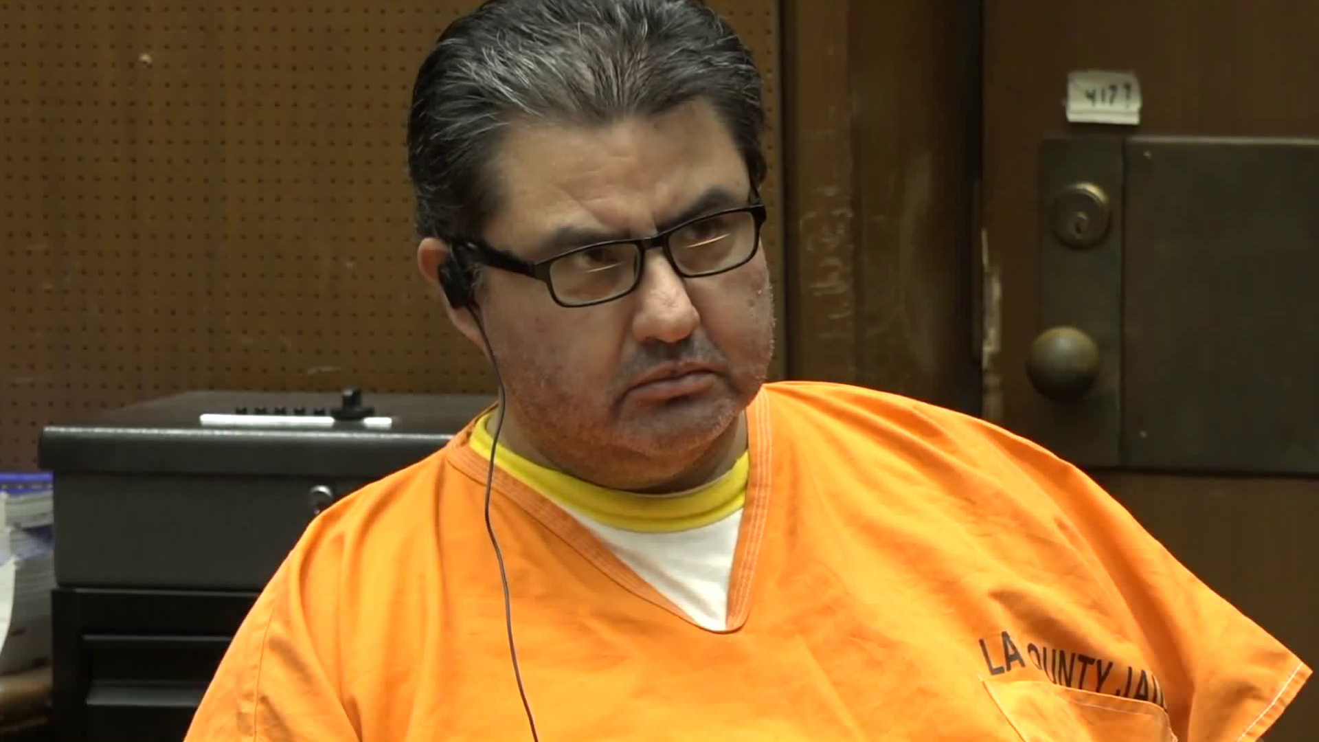 Naasón Joaquín García appears for a bail hearing in a downtown Los Angeles courtroom on July 16, 2019. (Credit: KTLA)