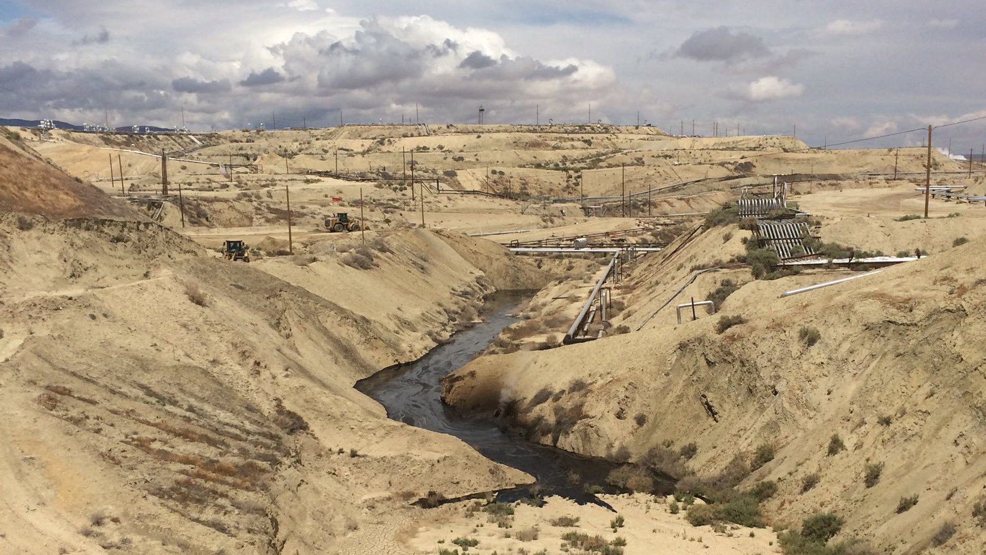 Oil flows at a Chevron oil field in Kern County in this photo tweeted May 13, 2019, by the California Department of Fish and Wildlife's Office of Spill Prevention and Response.