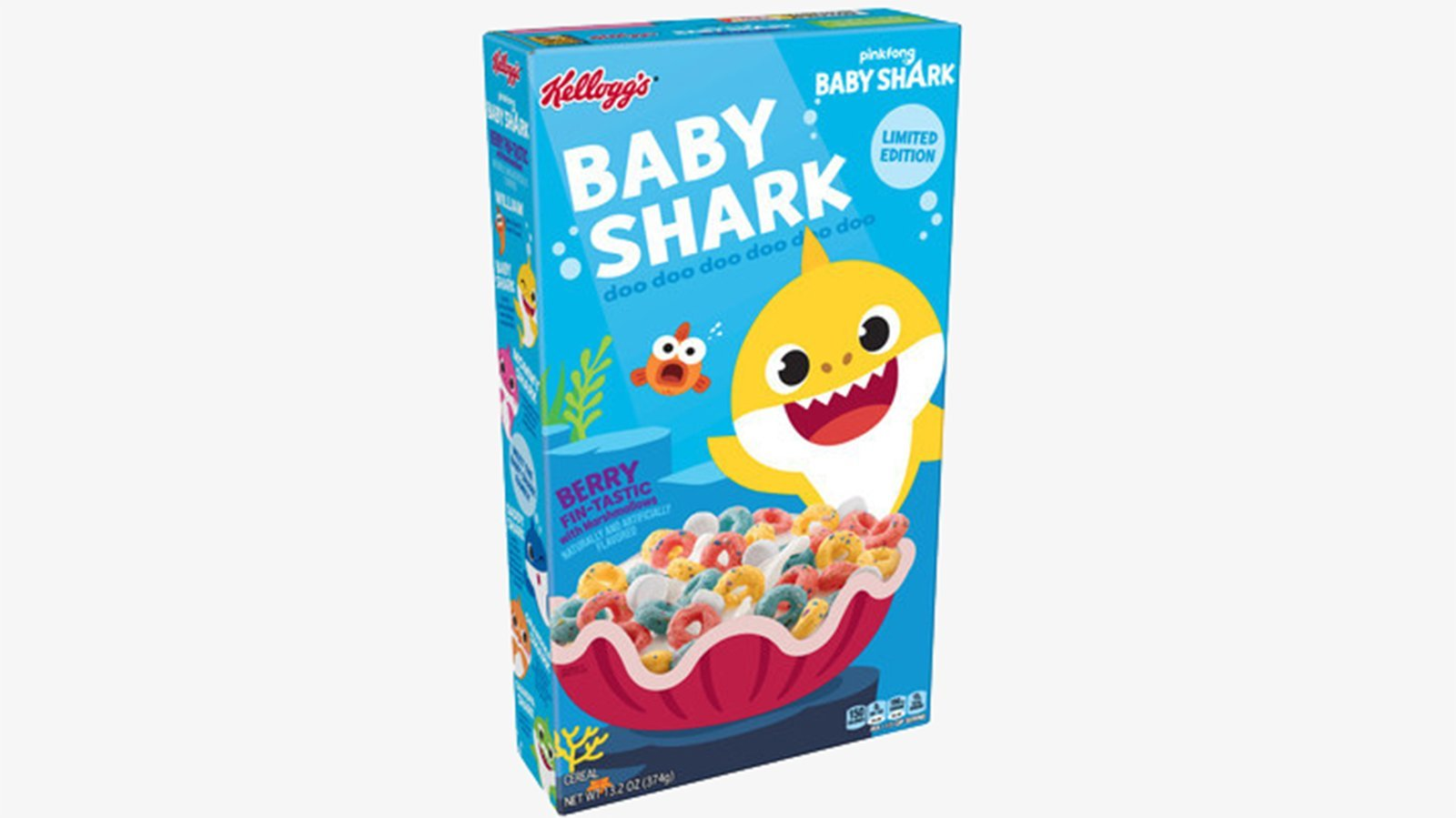 """""""Baby Shark"""" will soon be swimming in bowls of milk as kids sing along to the popular song's """"doo doo doo doo doo doo."""" (Credit: Kellogg's via CNN)"""