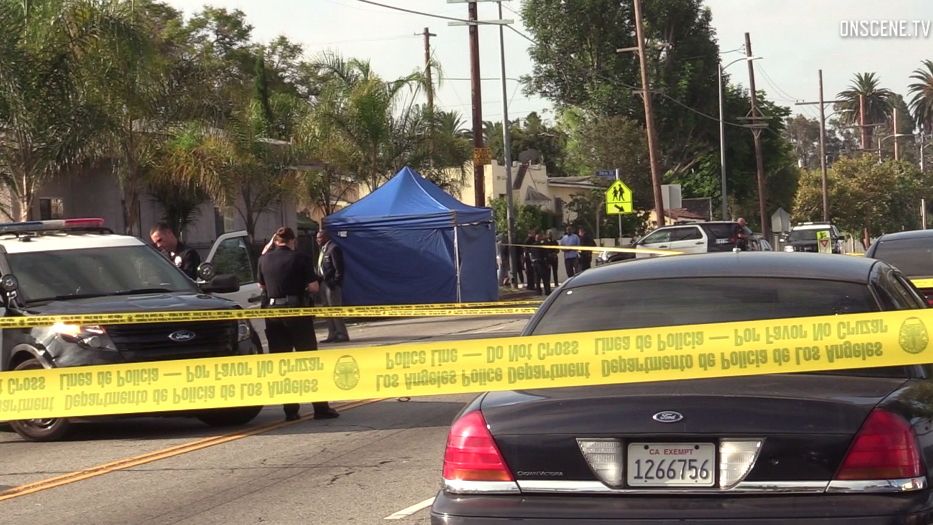 Law enforcement officials investigate the scene where a man was fatally shot during a suspected robbery in South L.A. on July 21, 2019. (Credit: Onscene.TV)