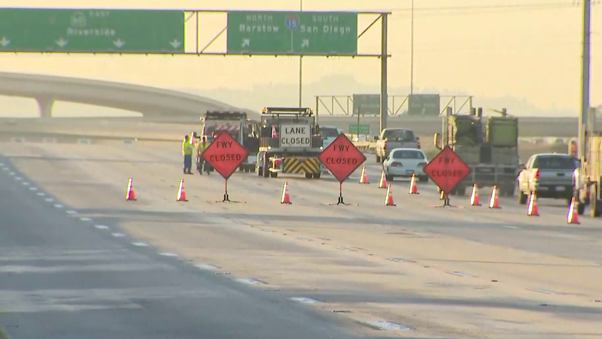 The eastbound 60 Freeway was closed for the first of eight weekends on July 27, 2019. (Credit: KTLA)