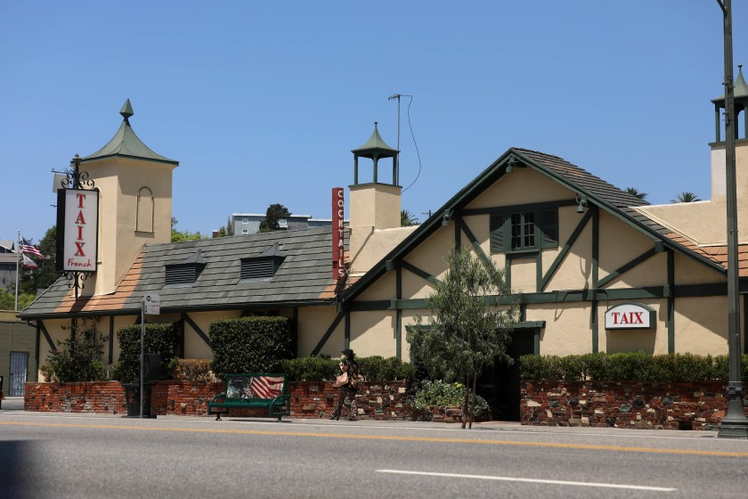 Taix French Restaurant, located in Echo Park, has long been an L.A. institution since opening in 1964. In August 2019, it was expected to close temporarily to make way for a new mixed-use development.(Credit: Gary Coronado / Los Angeles Times)