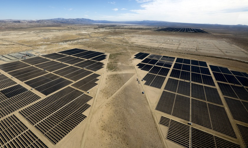 The Beacon solar project in Kern County that delivers electricity to the Los Angeles Department of Water and Power is seen in this undated photo. (Credit: Mel Melcon / Los Angeles Times)