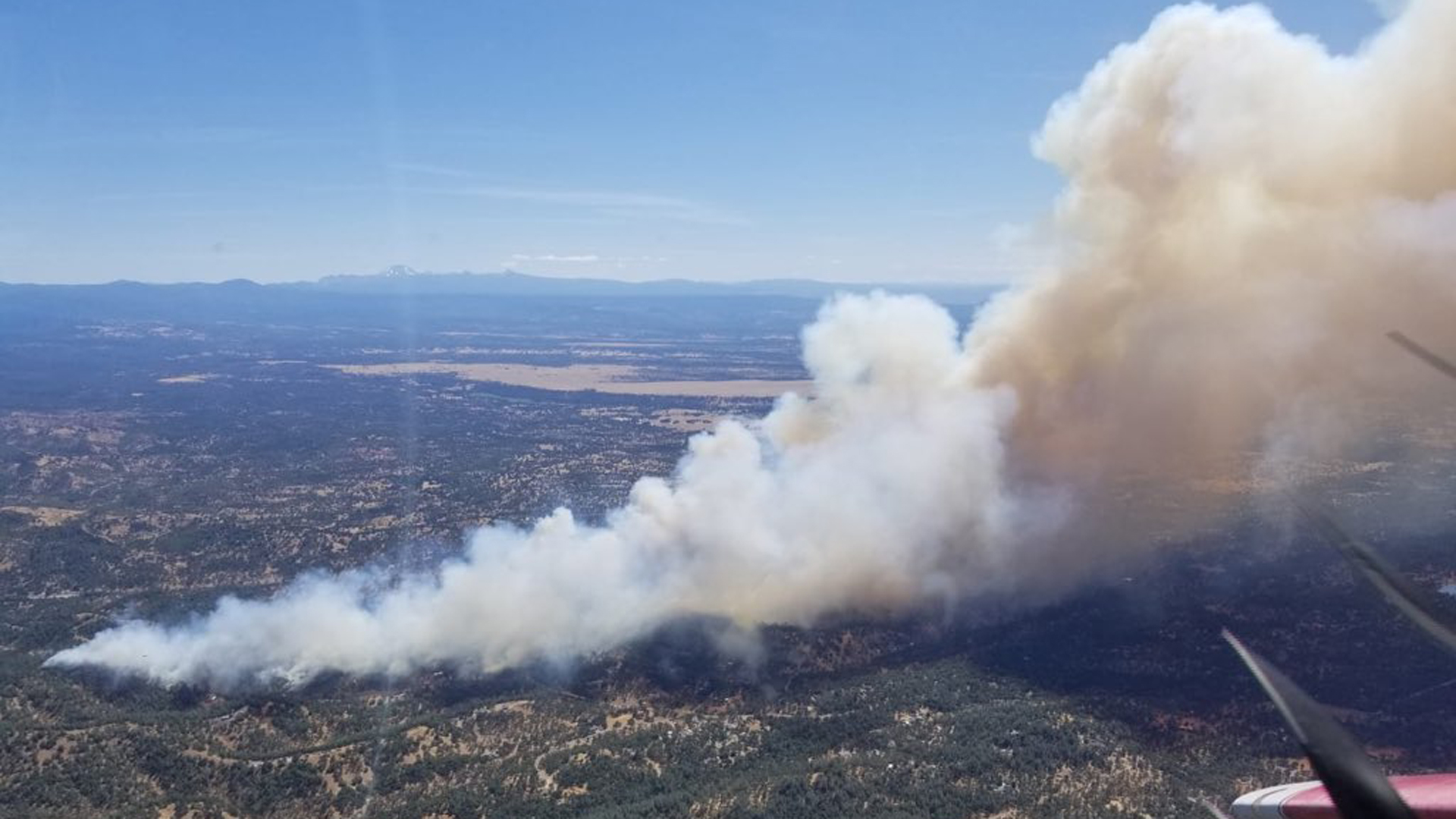 The Mountain Fire burning Aug. 22, 2019, near Redding is seen in an aerial photo provided by Cal Fire.