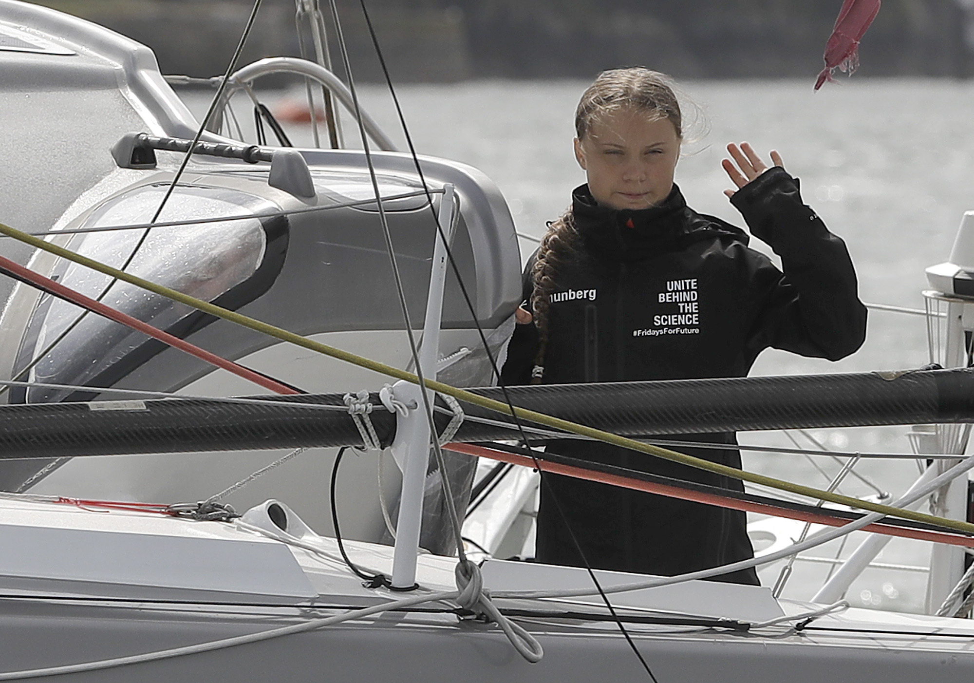 Climate change activist Greta Thunberg sets sail for New York in the 60ft Malizia II yacht from Mayflower Marina, on August 14, 2019 in Plymouth, England. (Credit: Kirsty Wigglesworth - WPA Pool/Getty Images)