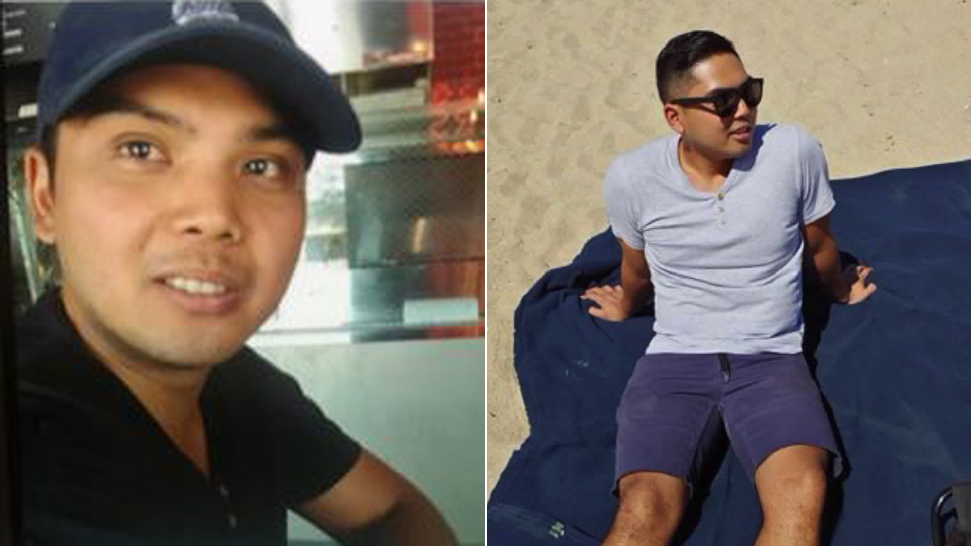 John Brian Mananghaya Aguila is seen in a photo released by police, left, and in one provided by his family to KTLA, right.