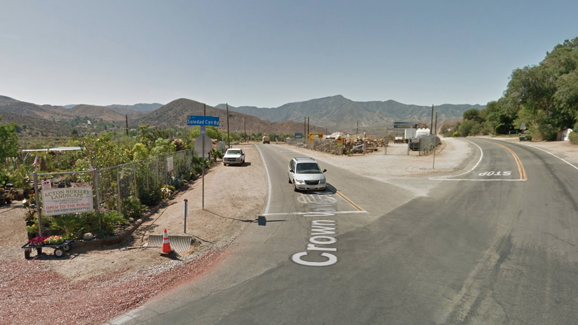 The intersection of Crown Valley Road and Soledad Canyon Road in Acton, as viewed in a Google Street View image.