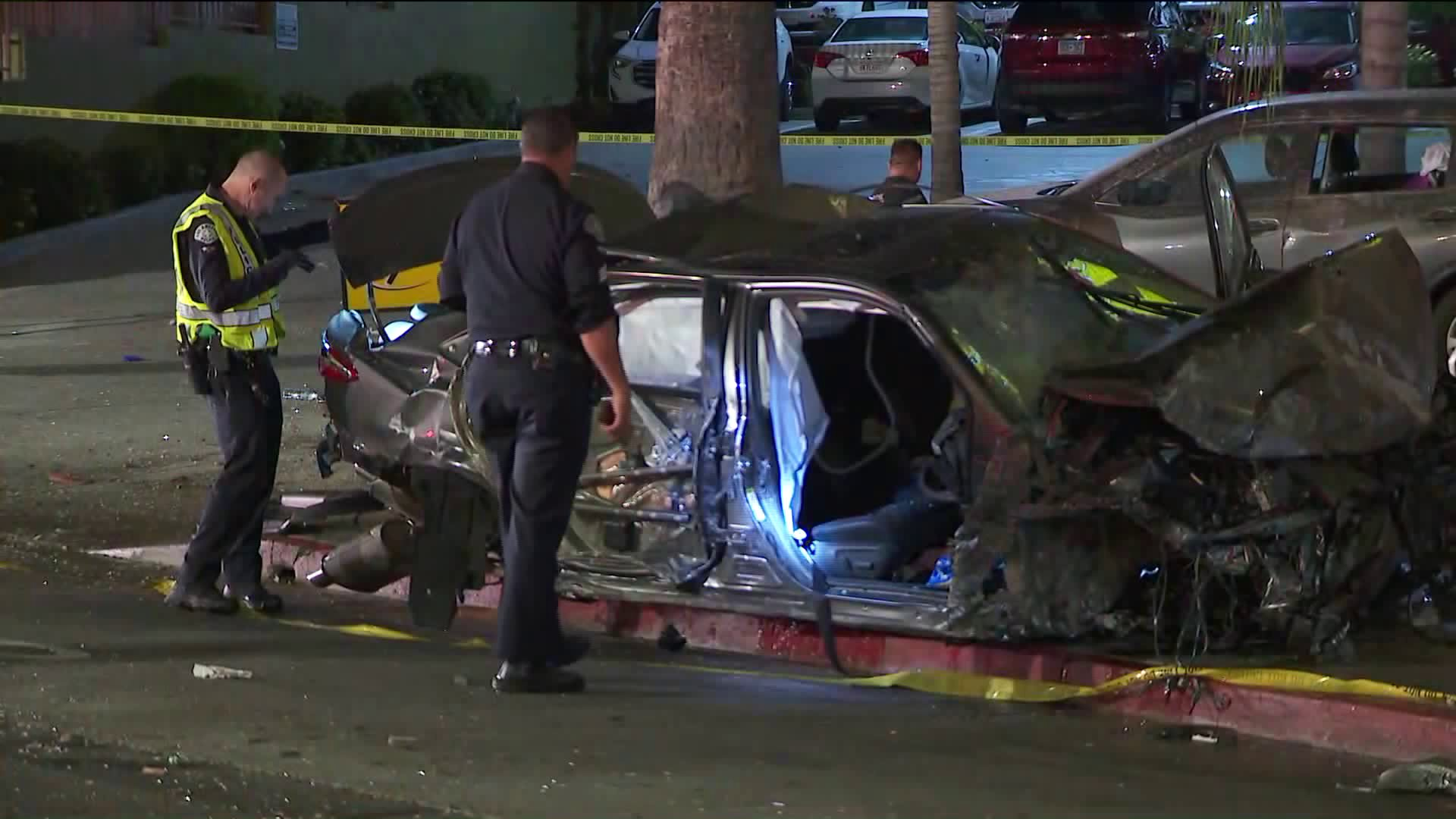 A crash scene is seen in Echo Park on Sep. 9, 2019. (Credit: KTLA)