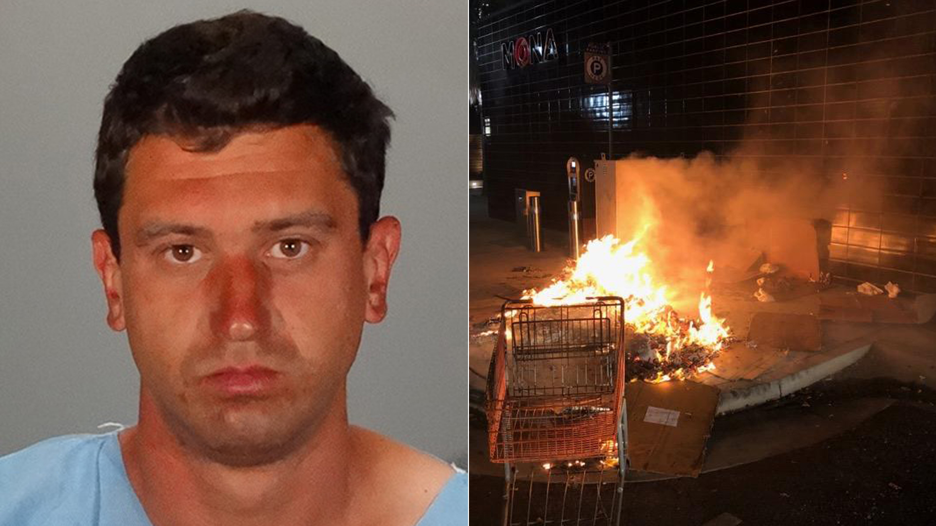 Richard Smallets is shown in a photo released by the Glendale Police Department on Sept. 24, 2019 along with a photo of the fire he allegedly started.