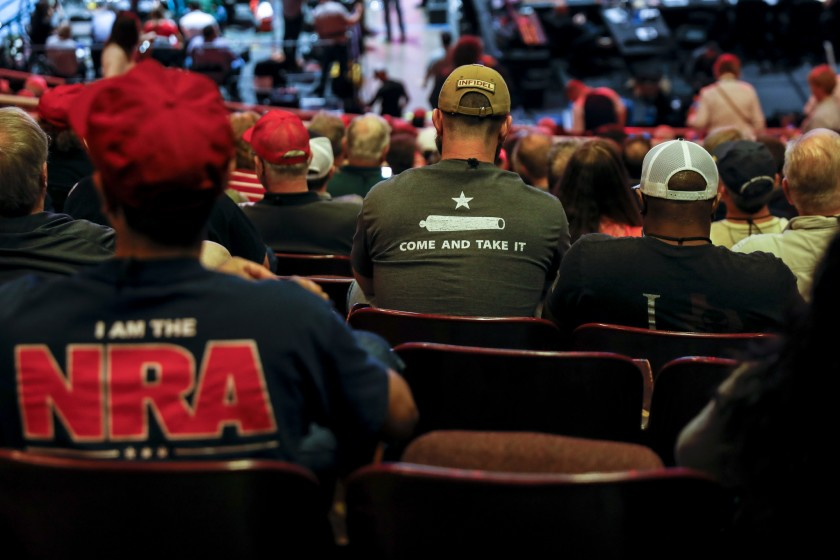 A crowd is pictured at the NRA-ILA Leadership Forum during the 2018 NRA convention in Dallas, Texas. (Credit: Jay L. Clendenin / Los Angeles Times)