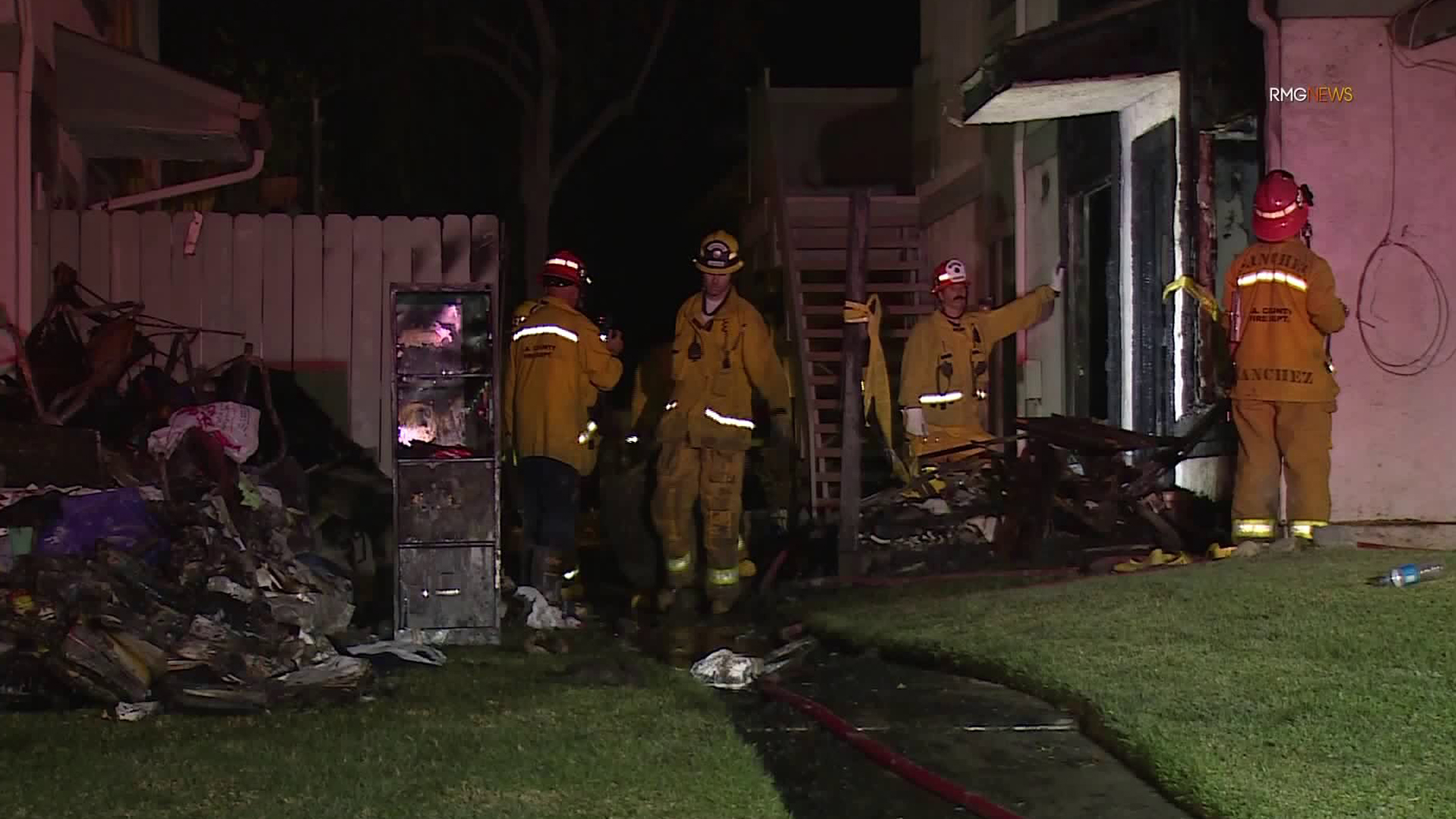 Firefighters respond to a double fatal fire in Azusa on Oct. 25, 2019. (Credit: RMGNews)