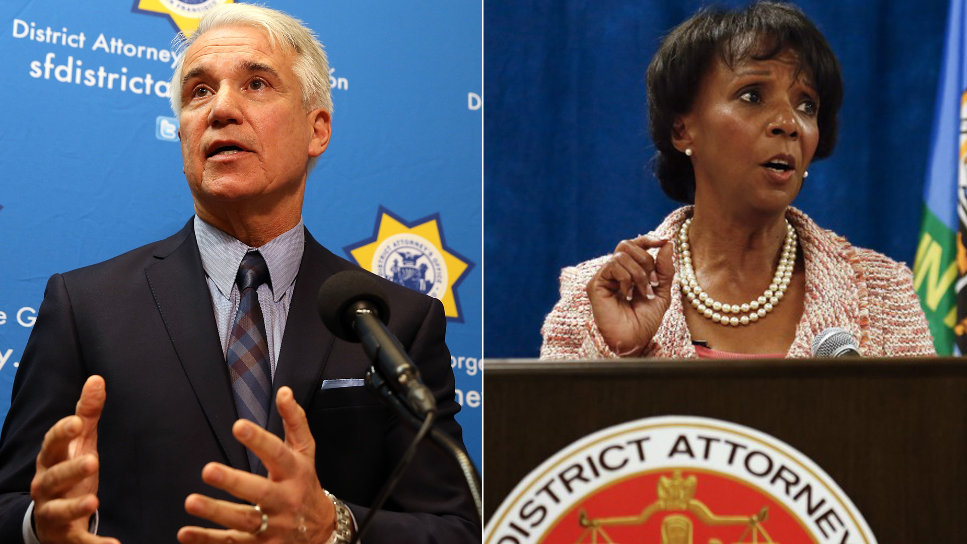 George Gascon, left, speaks during a new conference on Dec. 9, 2014 in San Francisco. On the right, Jackie Lacey appears in an undated photo. (Credit: Justin Sullivan / Getty Images; Mel Melcon/Los Angeles Times))