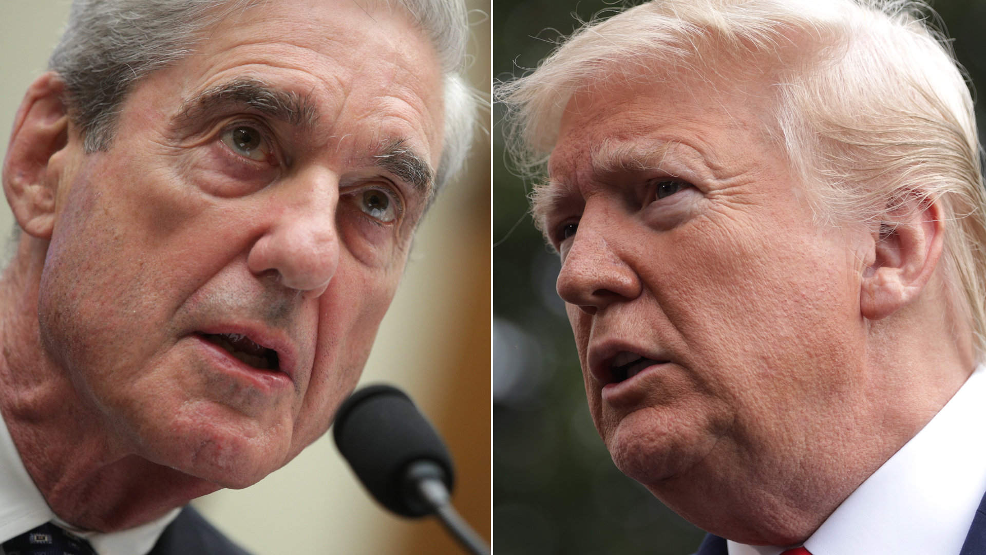 Left, former Special Counsel Robert Mueller testifies before the House Intelligence Committee July 24, 2019. Right, President Donald Trump speaks from the South Lawn of the White House Oct. 25, 2019. (Credit: Alex Wong/Getty Images)
