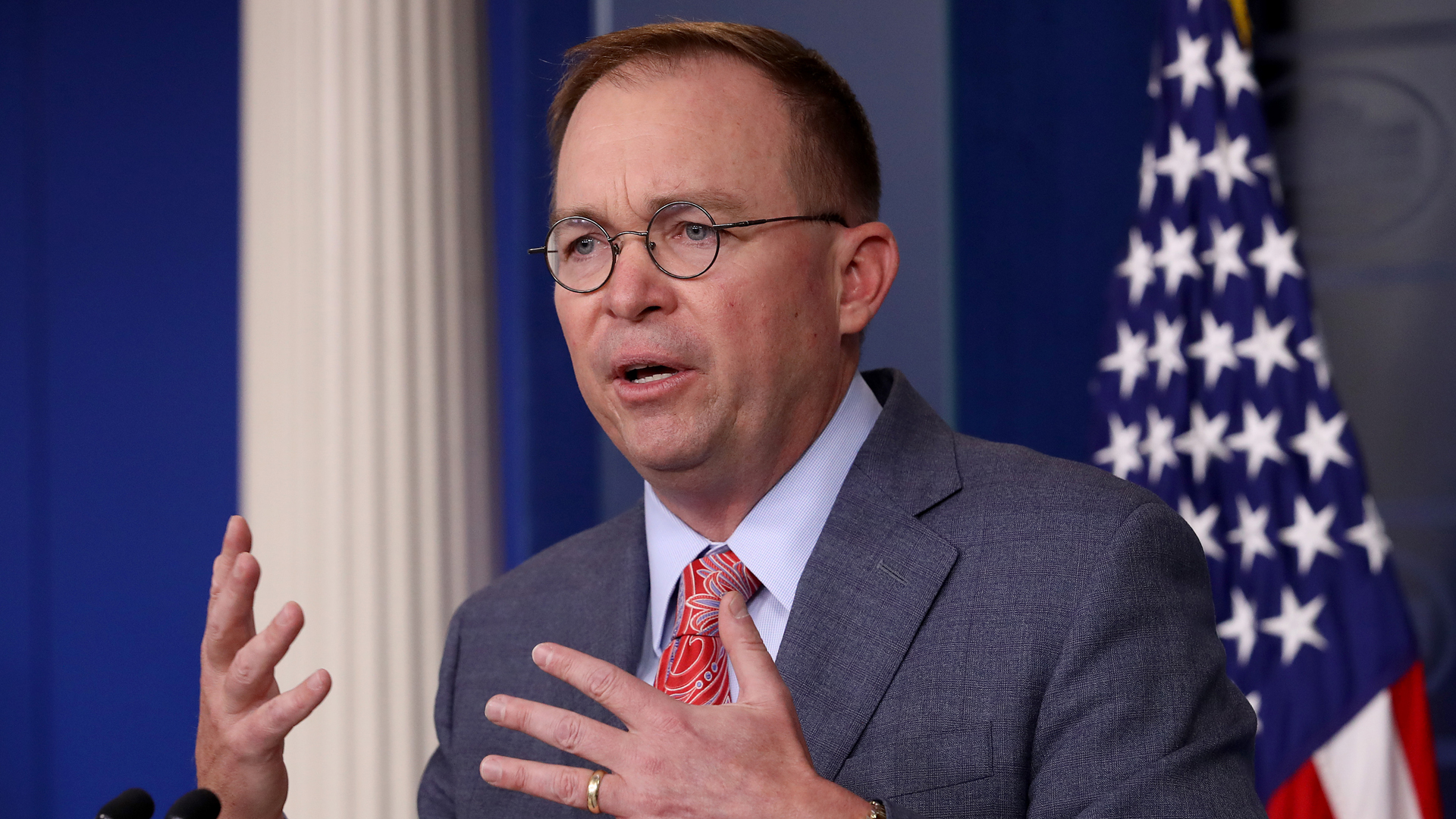 Acting White House Chief of Staff Mick Mulvaney answers questions during a briefing at the White House October 17, 2019 in Washington, DC. Mulvaney answered a range of questions relating to the issues surrounding the impeachment inquiry of U.S. President Donald Trump, and other issues during the briefing. (Credit: Win McNamee/Getty Images)