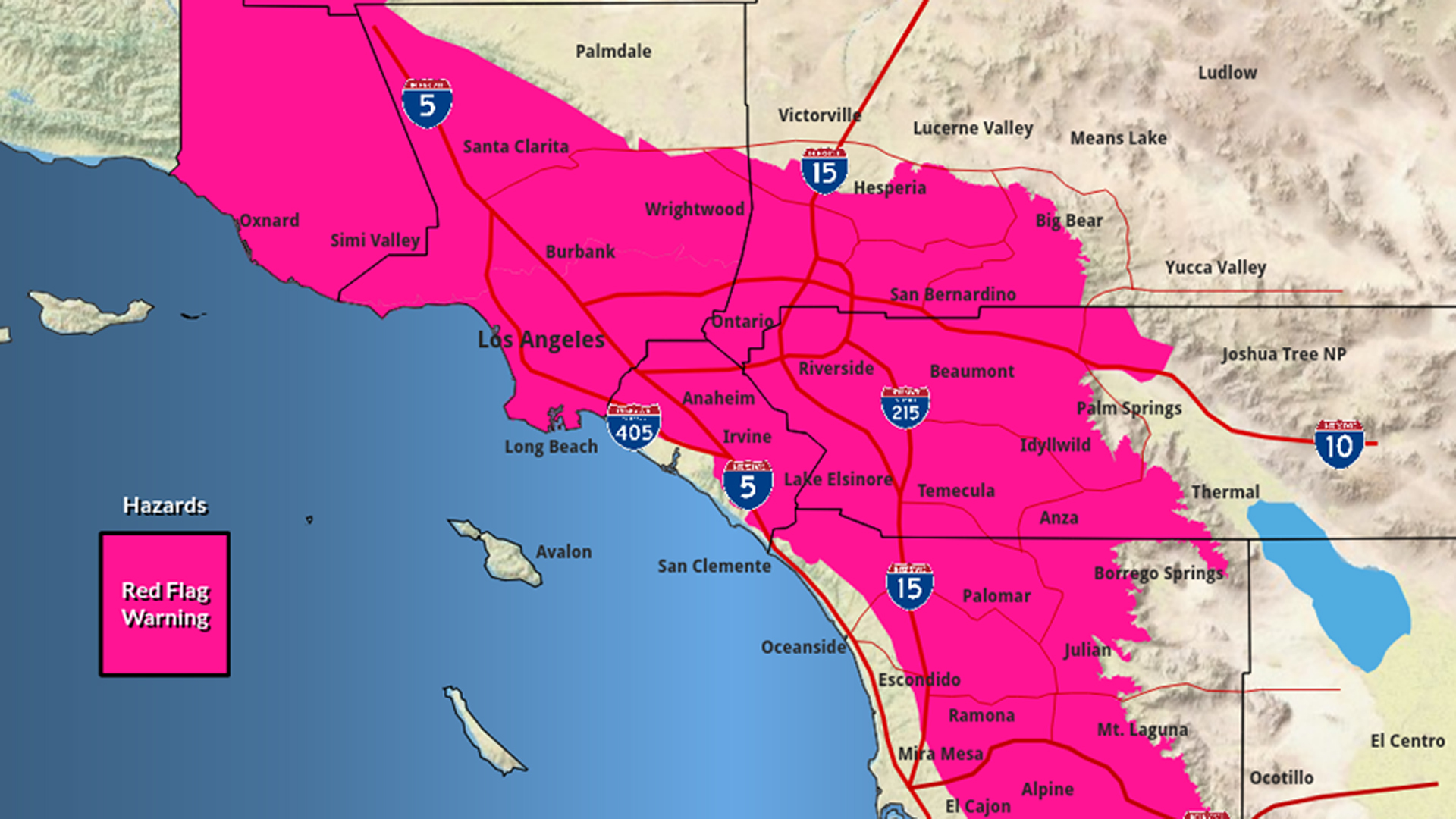A National Weather Service map shows areas in Southern California that are under a red flag warning through Oct. 25, 2019.