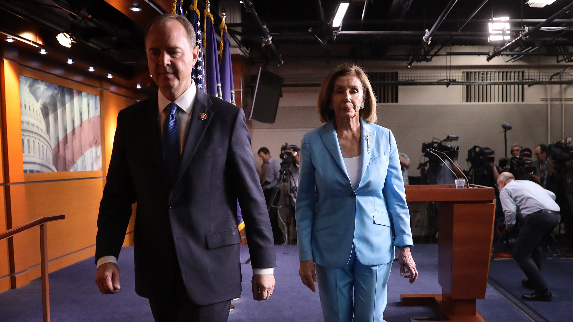 Speaker of the House Nancy Pelosi (D-CA) and House Select Committee on Intelligence Chairman Rep. Adam Shiff (D-CA) depart a press conference at the U.S. Capitol October 2, 2019. (Credit: Win McNamee/Getty Images)