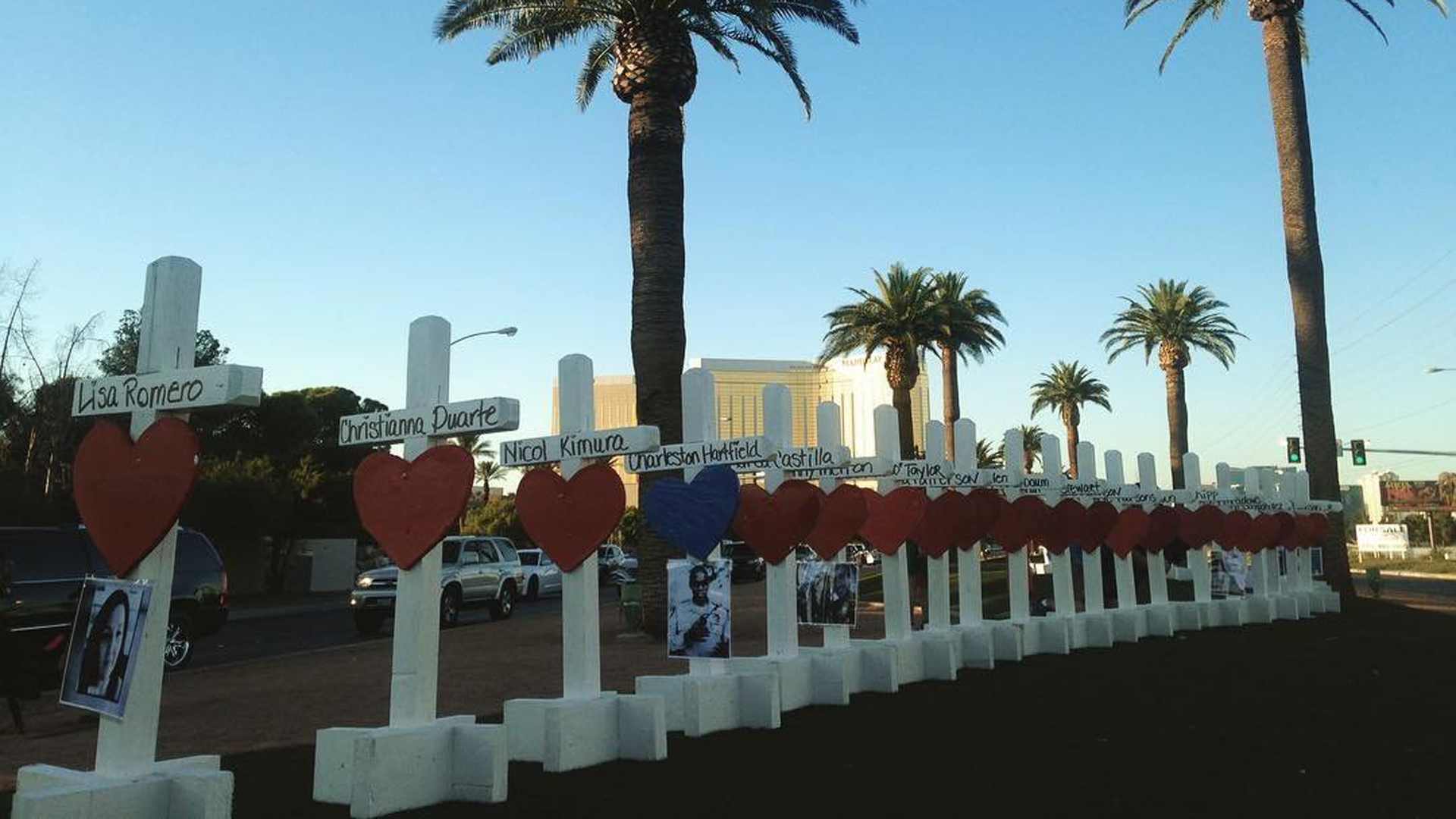 Fifty-eight crosses, one for each victim killed in the mass shooting, line the Las Vegas Strip on Oct. 1, 2019. (Credit: Tami Harper Winn)