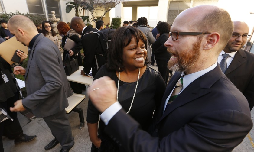 Dixon Slingerland, right, was fired last month as the top executive of Youth Policy Institute. After years of rapid growth, the group is shutting down. (Credit: Al Seib / Los Angeles Times)