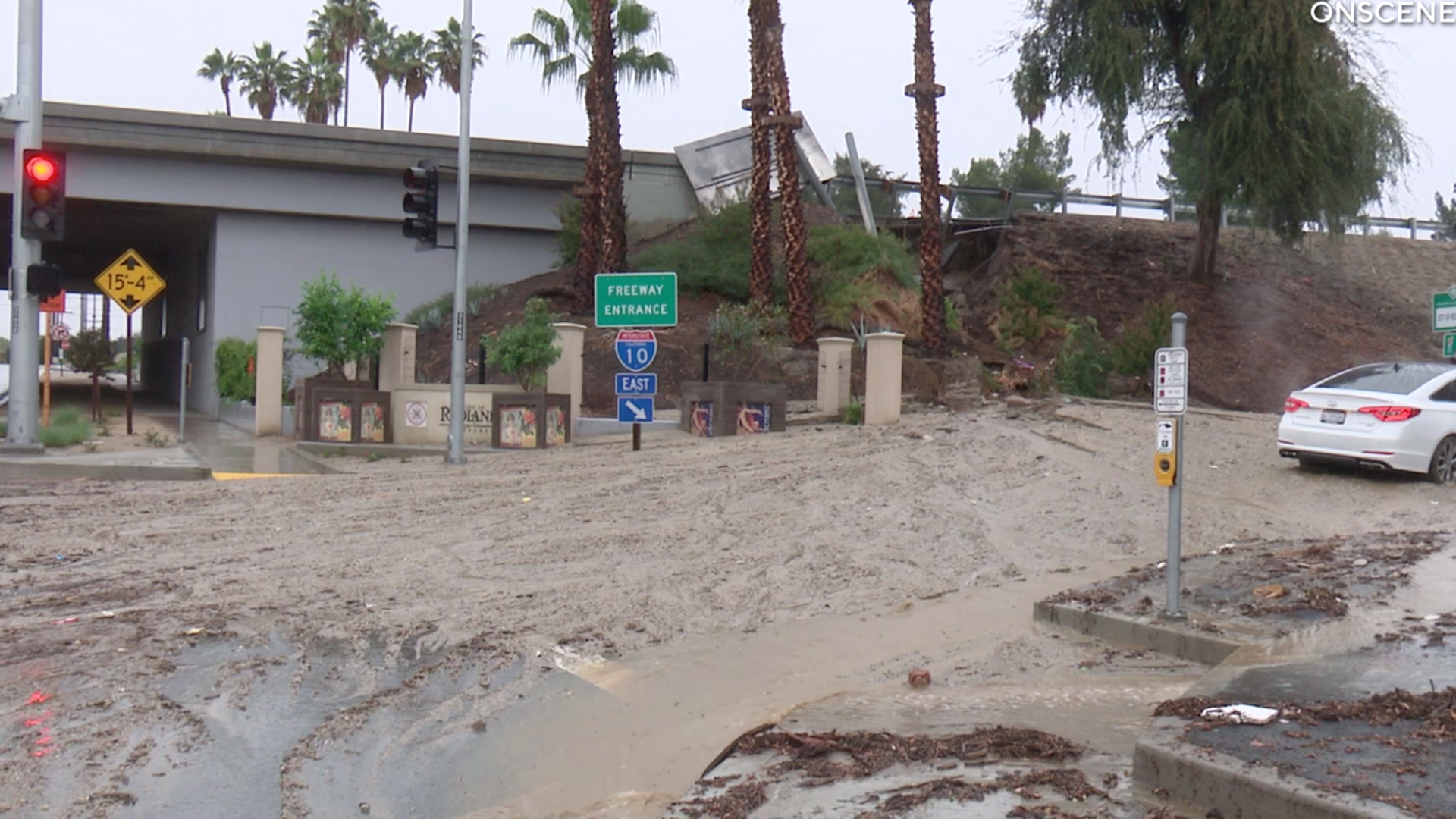 A collapsed drain caused a hole and subsequent mudslide in Redlands on Nov 28, 2019. (Credit: ONSCENETV)