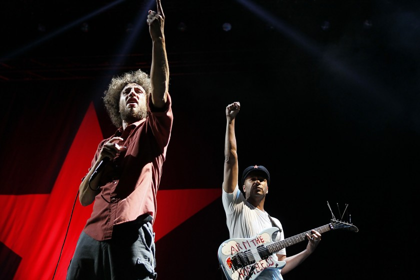 Zack de la Rocha and Tom Morello, right, of Rage Against the Machine perform in 2011. (Credit: Robert Gauthier / Los Angeles Times)