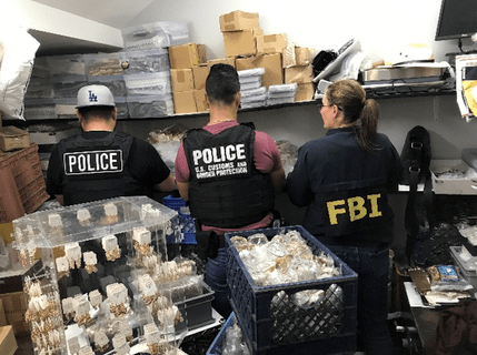 Authorities conducted an investigation at the DTLA Jewelry District on Nov. 7, 2019. (Credit: LAPD)
