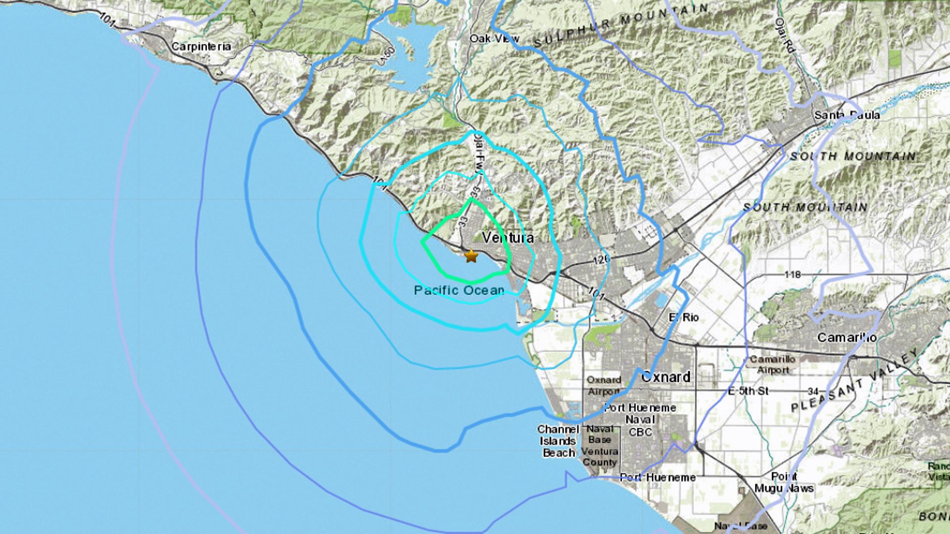A 3.6 magnitude earthquake struck near Ventura on Nov. 8, 2019. (Credit: USGS)