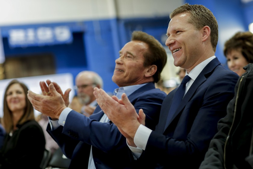 In this undated photo, State Assemblyman Chad Mayes (R-Yucca Valley), right, appears alongside former California Gov. Arnold Schwarzenegger, at an event to debut their group New Way California. (Credit: Jay L. Clendenin / Los Angeles Times)