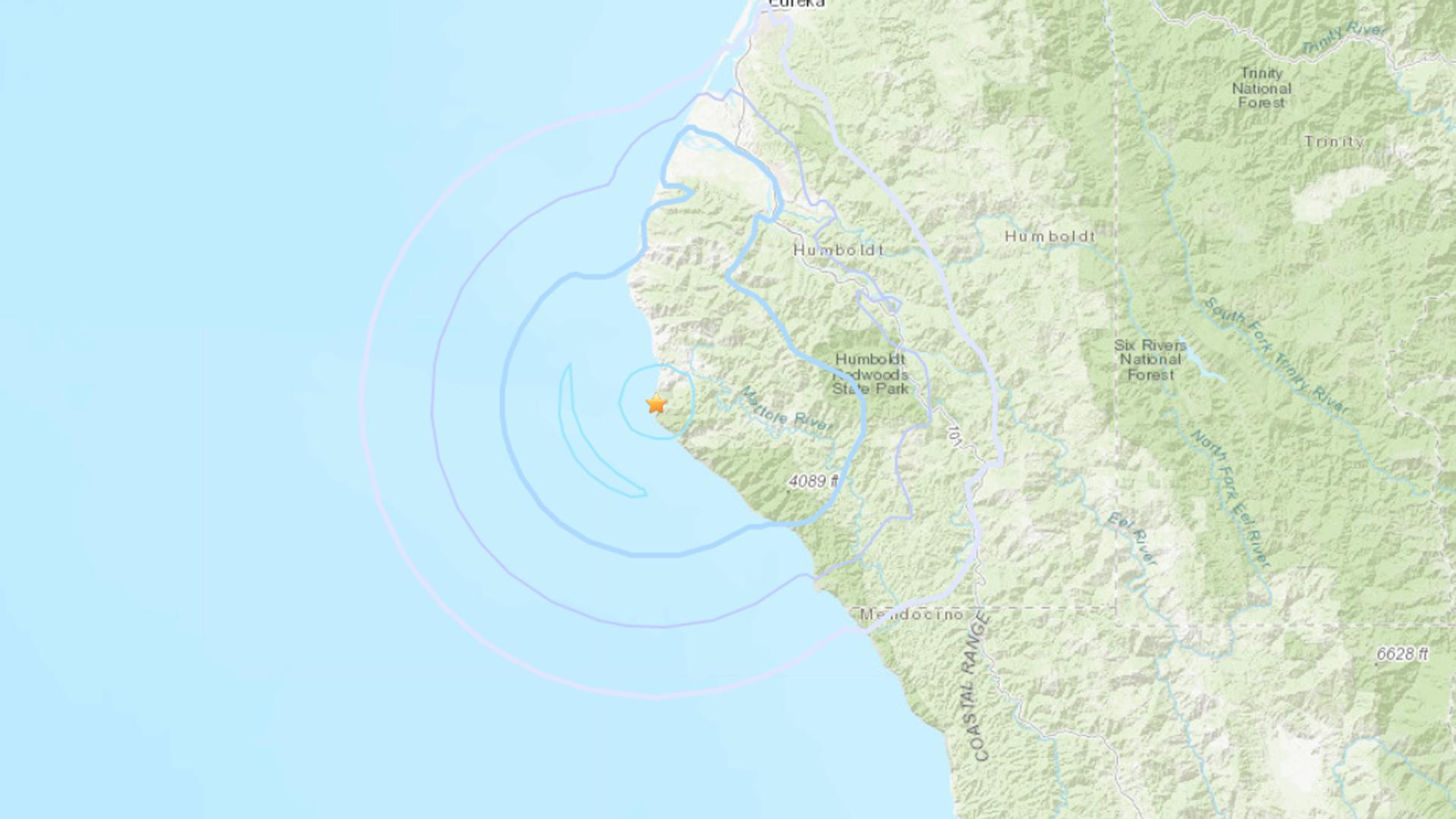 An earthquake struck coastal Northern California on Dec. 19, 2019. (Credit: U.S. Geological Survey)