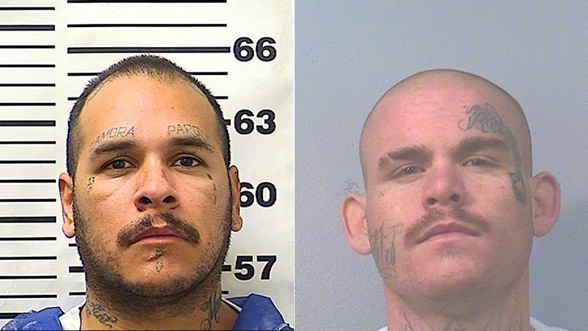 Anthony Rodriguez and Cody Taylor are shown in photos released by the California Department of Corrections and Rehabilitation on Dec. 12, 2019.