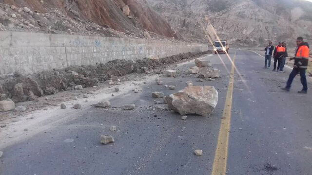 A picture taken on December 27, 2019 shows the Ahram-Farashband road blocked by a landslide triggered by an earthquake in Iran's southern Bushehr province. (Credit: ISNA NEWS AGENCY/AFP via Getty Images)