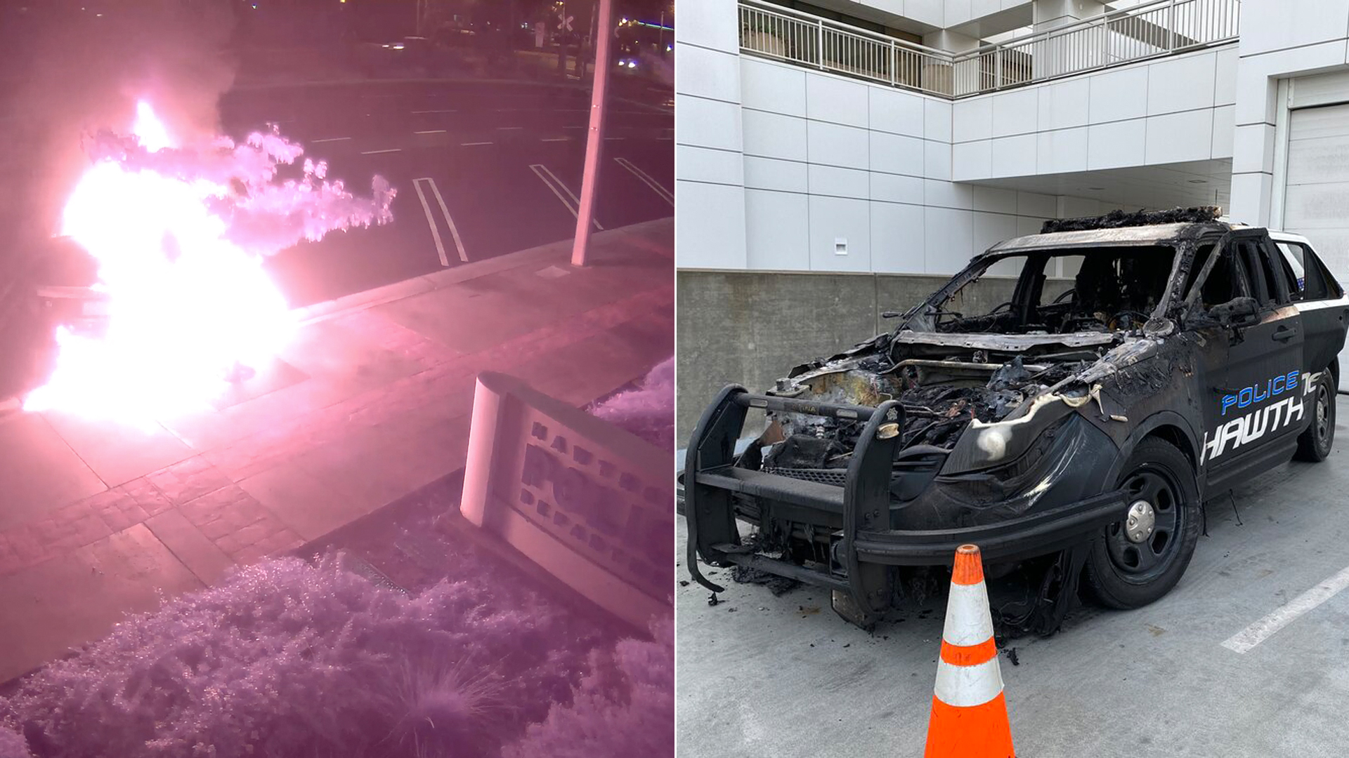 Hawthorne police released a video and a photo of a patrol SUV that was destroyed after a person set it on fire on Dec. 5, 2019.