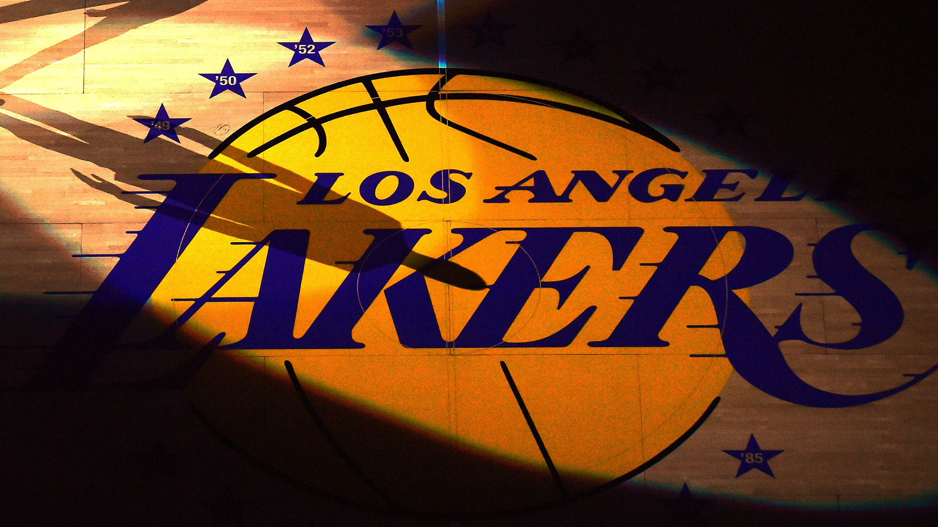 The Lakers logo is seen at center court inside the Staples Center on Dec. 18, 2017. (Credit: Harry How / Getty Images)