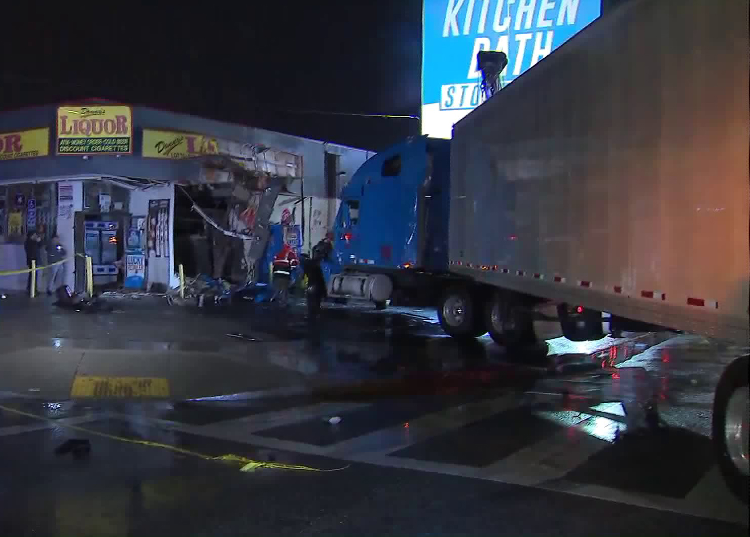 A big rig crashed into a liquor store in the Sun Valley area on Dec. 23, 2019. (Credit: KTLA)