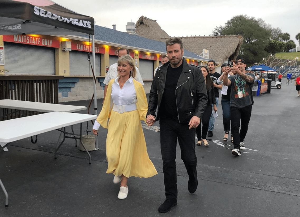 """Olivia Newton-John posted this photo on Instagram of her and John Travolta as their """"Grease"""" characters on Dec. 13, 2019 in West Palm Beach, Florida."""