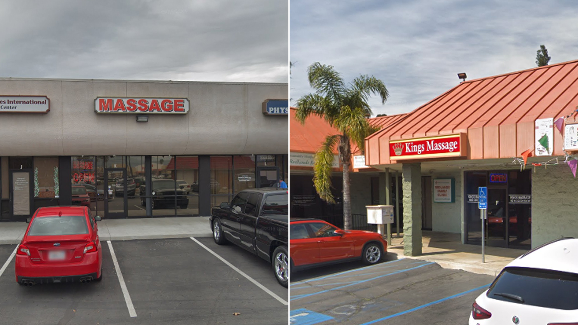 Two Redlands massage parlors shut down after a sheriff's investigation are seen in Google Maps Street View images.
