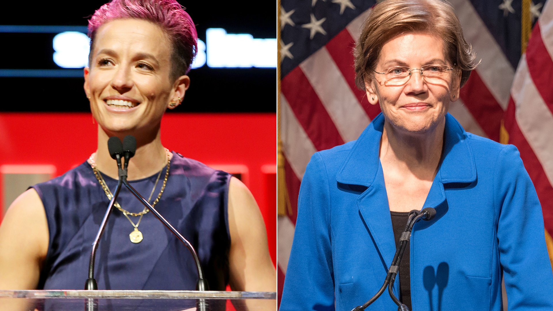 Megan Rapinoe, left, speaks at the Sports Illustrated Sportsperson Of The Year 2019 at the Ziegfeld Ballroom on Dec. 9, 2019 in New York City. Sen. Elizabeth Warren (D-MA), left, speaks on Dec. 12, 2019 in Manchester, New Hampshire.(Credit: Bennett Raglin/Getty Images for Sports Illustrated Sportsperson of the Year 2019; Scott Eisen/Getty Images)