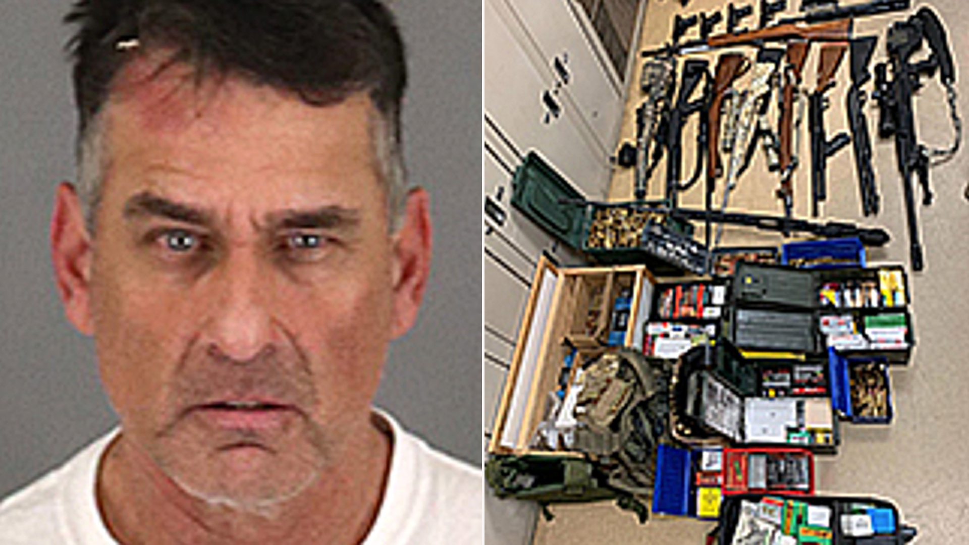 Timothy Rarick is seen alongside an array of weapons in photos provided by the Riverside County Sheriff's Department.