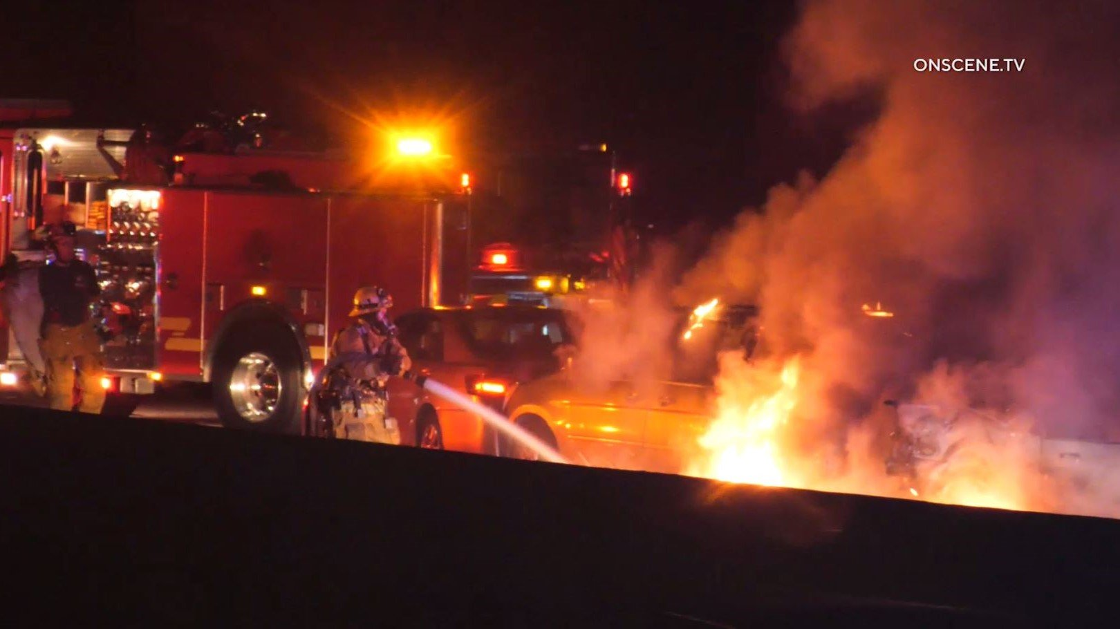 A person was killed in a fiery three-vehicle collision on the 60 Freeway in Industry on Jan. 9, 2020. (Credit: OnScene)