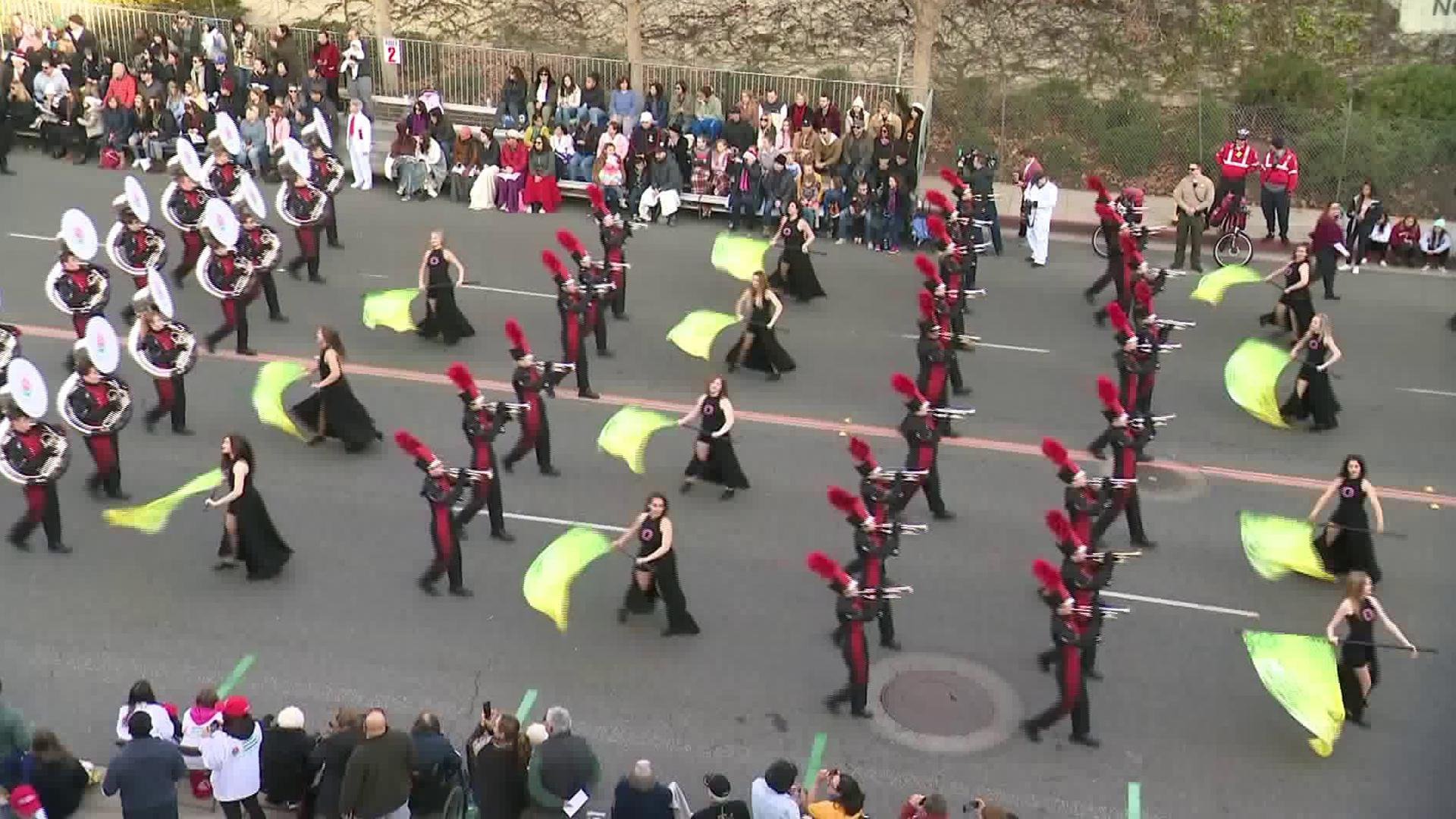 A marching band passes by KTLA's Band Cam at the 131st Rose Parade on Jan. 1, 2020. (Credit: KTLA)