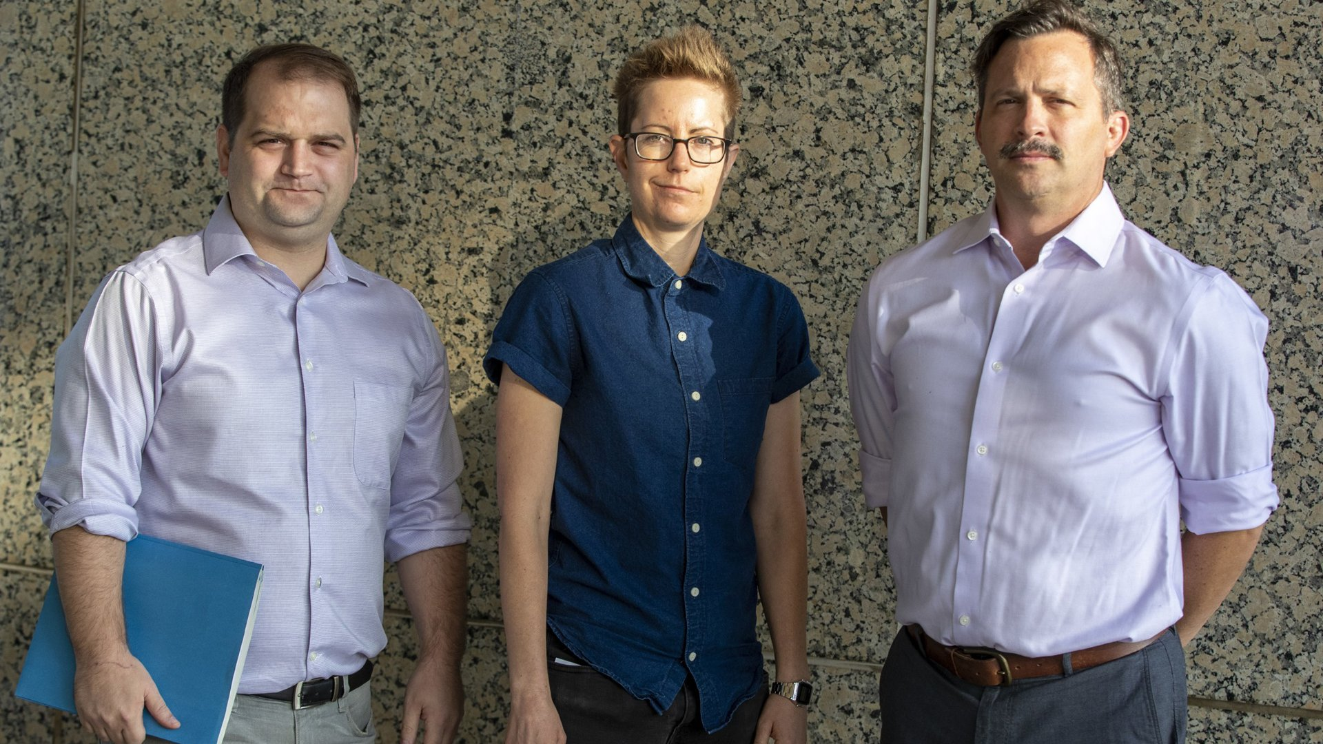 Andrew Carslaw, left, Sheri Wheeler and Michael Peck are former students of Video Symphony EnterTraining, a defunct for-profit film school.(Credit: Brian van der Brug / Los Angeles Times)