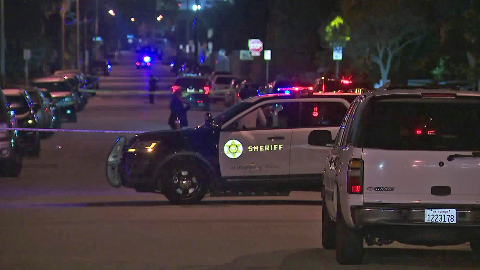Authorities investigate a fatal shooting in the unincorporated East Los Angeles area on Jan. 6, 2020. (Credit: KTLA)