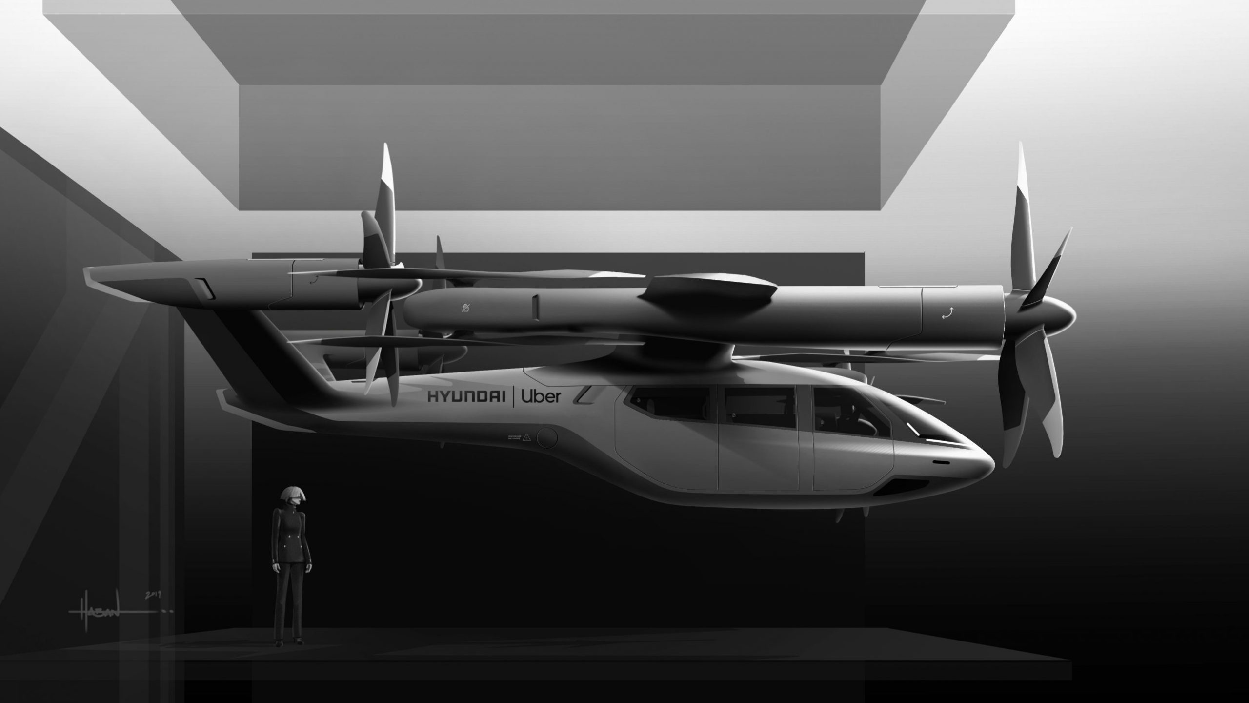 The Uber and Hyundai S-A1 flying taxi model is seen in an image released by Uber technologies.