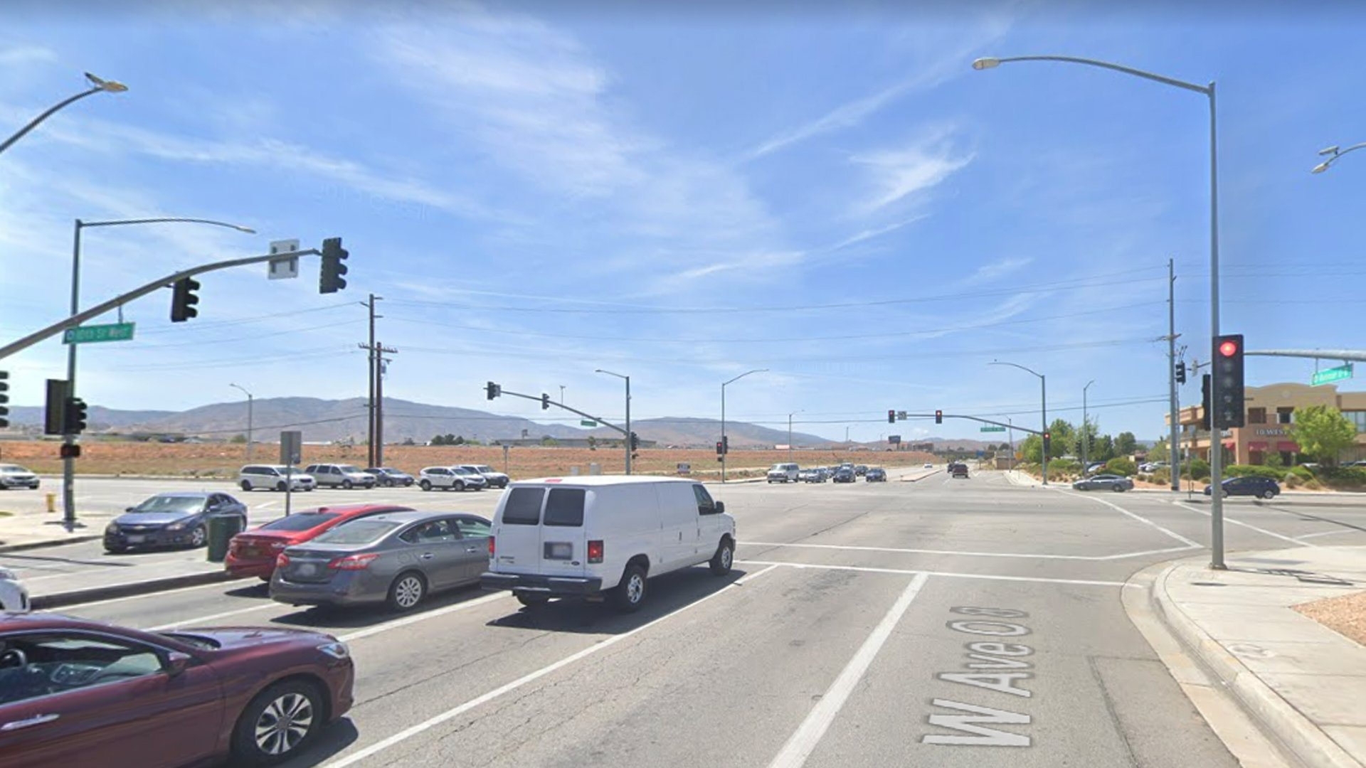 The intersection of 10th Street and Avenue O-8 in Palmdale, as pictured in a Google Street View image.
