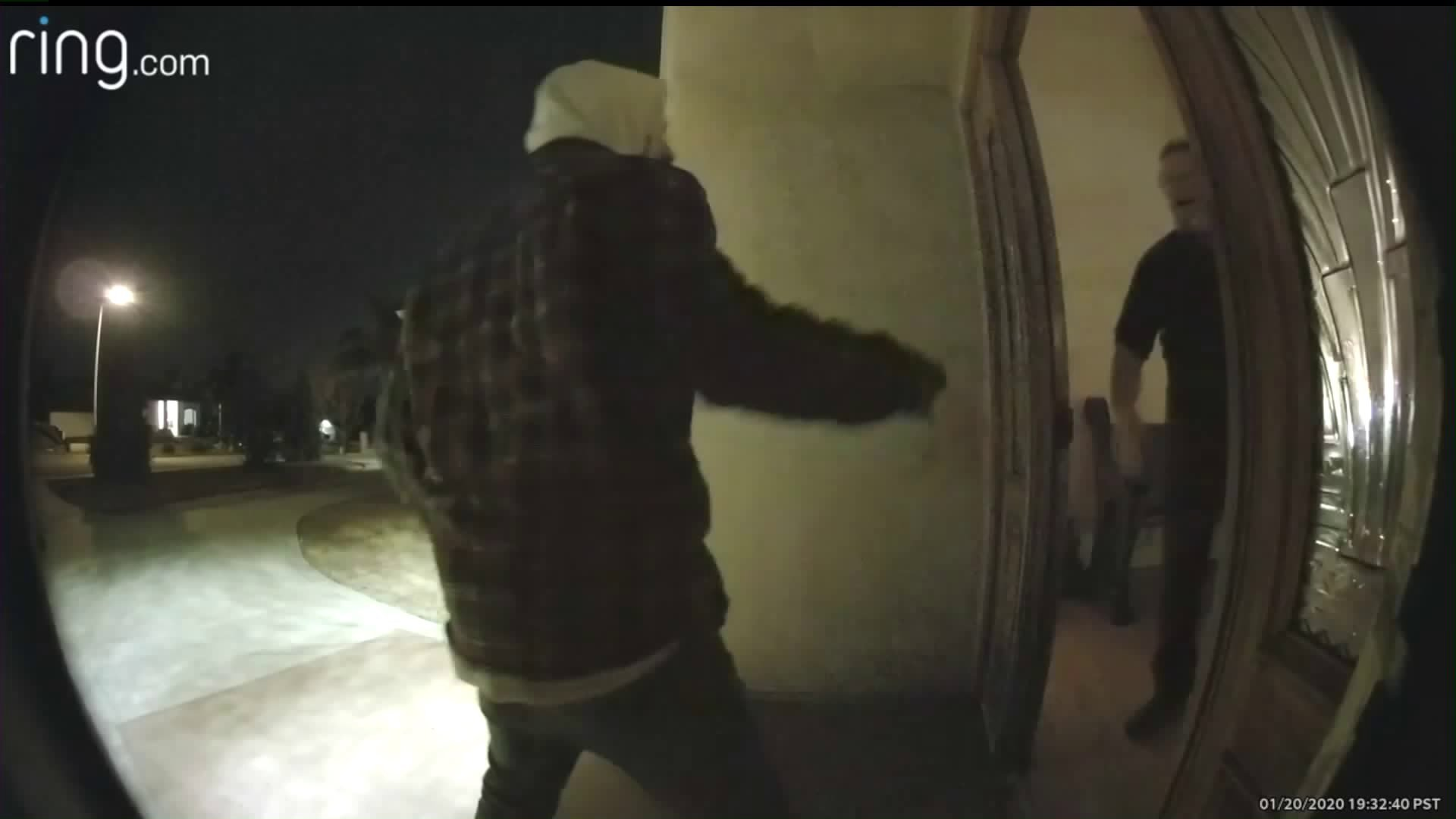 The Yucaipa Police Department released Ring alarm video on Jan, 22, 2020, showing a man trying to force his way into a home.