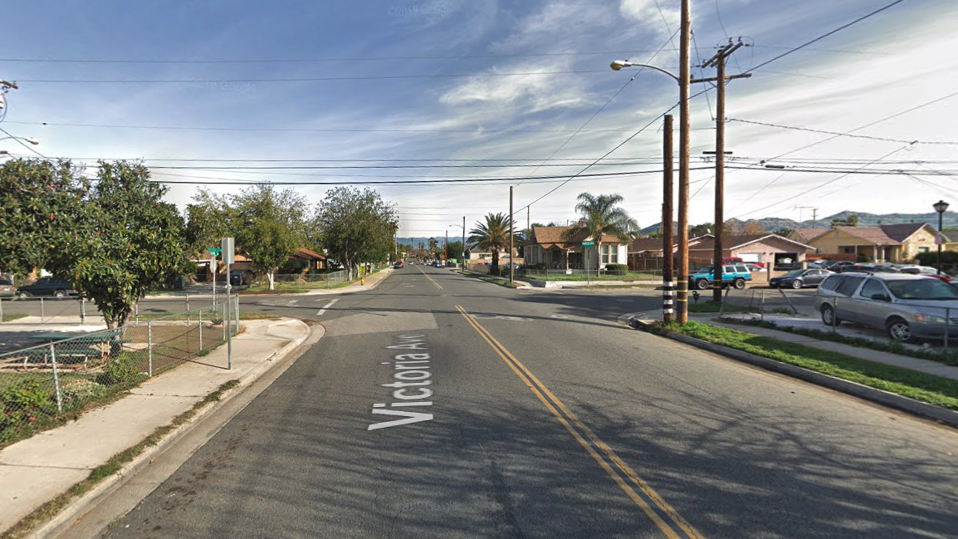 The intersection of Victoria Avenue and 12th Street in Riverside, as pictured in a Google Street View image.